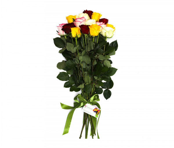Bouquet of 15 colourful roses Anahit