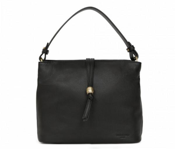Women's leather bag Top Handle Black Hexagona