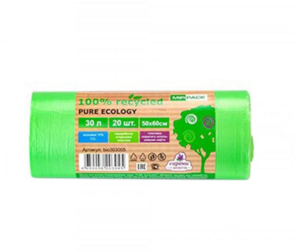 Աղբի տոպրակներ Mir Pack 30լ Pure Ecology կանաչ 12մկմ