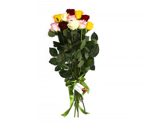 11 գունավոր վարդով ծաղկեփունջ Anahit