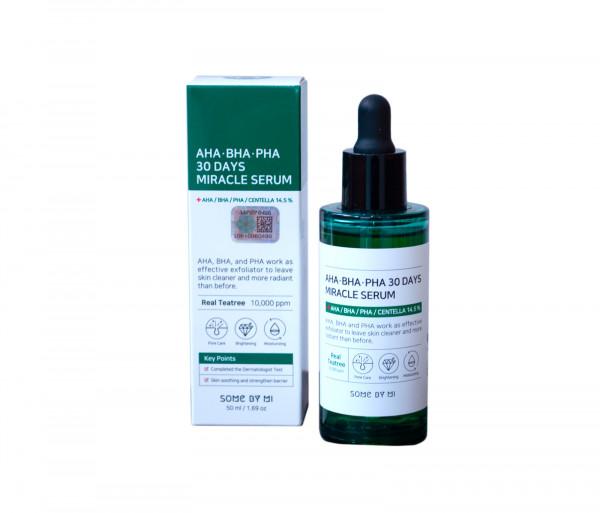 Խոնավեցնող շիճուկ «AHA-BHA-PHA 30days miracle serum» խնդրահարույց մաշկի համար Some by Mi 50մլ