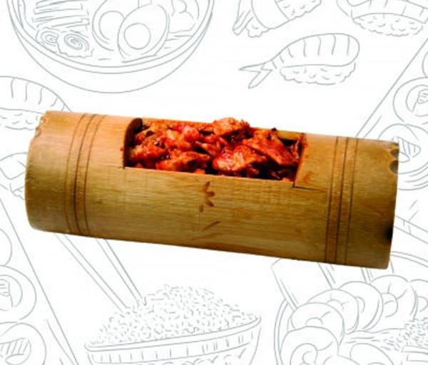 Խոզի միս մանրածովախեցգետնով բամբուկի մեջ Վոկ ընդ Ռոլ