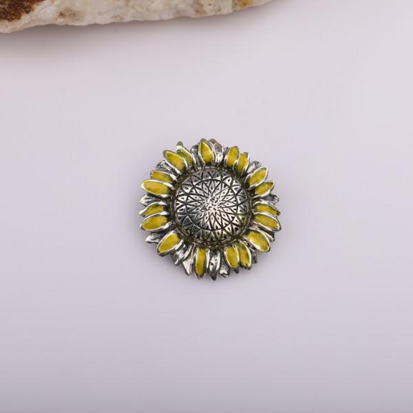 Silver brooch for women Sunflower Kara Silver