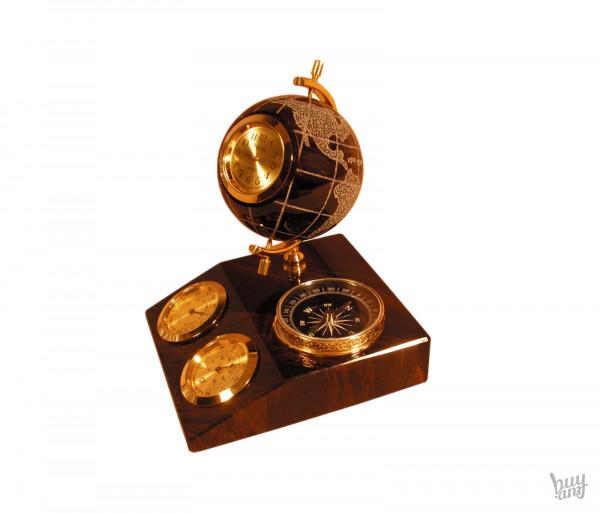 Սեղանի ժամացույց օբսիդիան «Երկրագունդ» կողմնացույցով