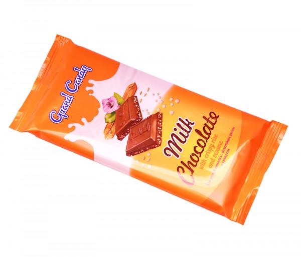 Կաթնային շոկոլադե սալիկ փքեցված բրնձով և քունջութով Grand Candy