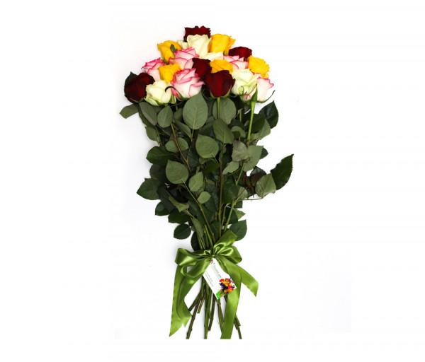 19 գունավոր վարդով ծաղկեփունջ Anahit