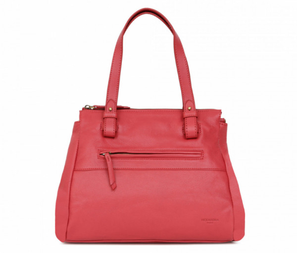 Women's leather bag Top Handle Red Hexagona