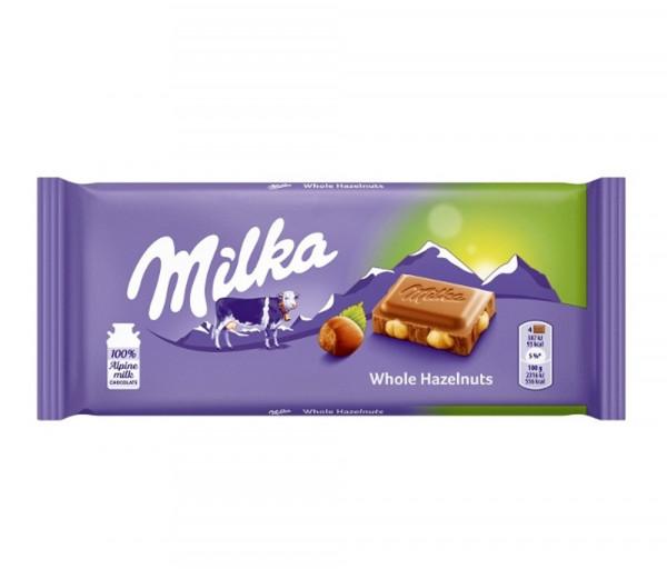 Միլկա Ամբողջական պնդուկով շոկոլադ 100գ