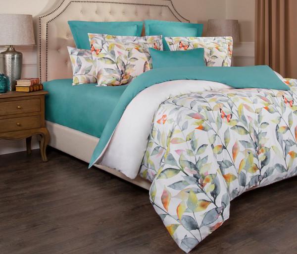 Անկողնու հավաքածու 1,5 Сп Гармоника Цветы+Бирюза