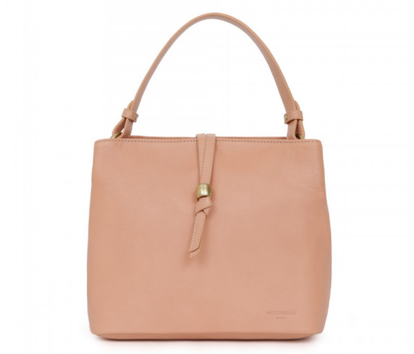Women's leather bag Top Handle Peach Hexagona