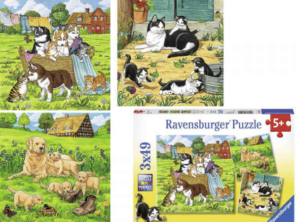 """Ravensburger Puzzle """"Cats & Dogs"""" 3x49p"""