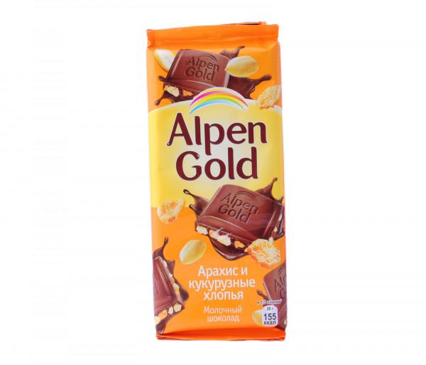 Ալպեն Գոլդ Կաթնային շոկոլադ Գետնանուշ և եգիպտացորենի փաթիլներ 90գ