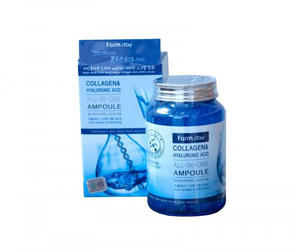 Դեմքի խոնավեցնող գել «Collagen & Hyaluronic ACID ALL-IN-ONE ampoule» Farm Stay 250մլ