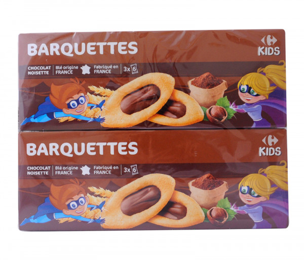 Carrefour Boatshaped Bisc W Chocolate 120gx2 Chocolate Cookies