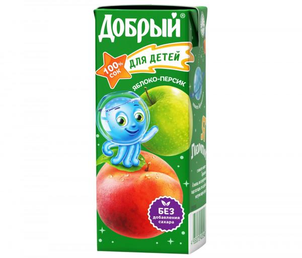 Բնական հյութ «Добрый» (խնձոր-դեղձ) 0.2լ