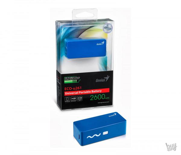 Լիցքավորիչ սարք Genius ECO-U261, 2600mAh, Blue