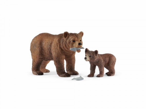 Schleich Կենդանիների արձանիկների հավաքածու «Մայր Գրիզլի արջը՝ ձագերի հետ»