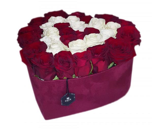 Հավաքածու Heart Box Sara (զամշե տուփ) Coco Fiori
