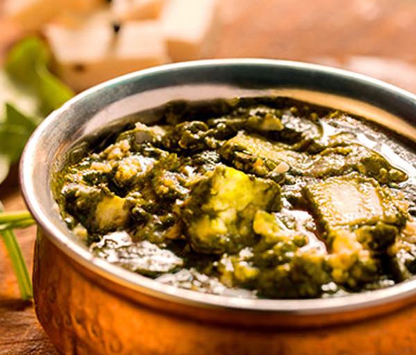Հնդկական պանիր սպանախի սոուսով Կառմա Հնդկական Ռեստորան