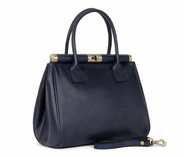 Women's leather bag Top Handle Navy Hexagona